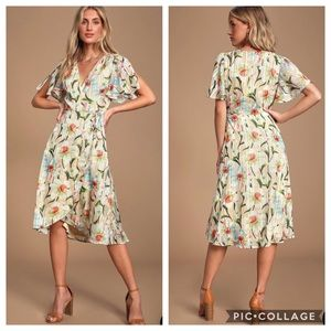 Lulus She's a Dream Floral Print Wrap Dress